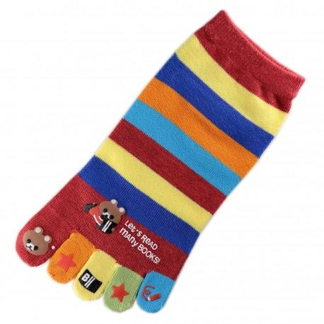 Socquettes à doigts à rayures Nounours Rouge T.U.