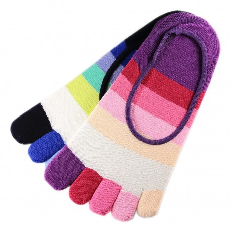 Pack de 2 Paires Socquettes INVISIBLE à doigts Rayures Multicolores Assorties T.U.