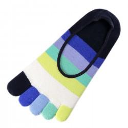 Pack de 2 Paires Socquettes INVISIBLE à doigts Rayures Multicolores Bleu T.U.