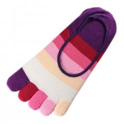 Pack de 2 Paires Socquettes INVISIBLE à doigts Rayures Multicolores Violet T.U.