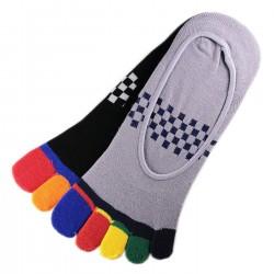 Pack de 2 Paires Socquettes INVISIBLE à doigts Assorties T.U.