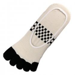 Pack de 2 Paires Socquettes INVISIBLE à doigts Beige T.U.