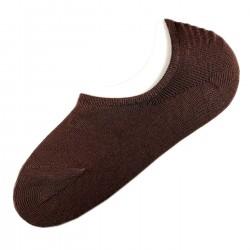 Pack de 12 Paires Socquettes Invisible Anti-dérapant Brun T.U.