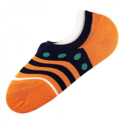 Pack de 12 Paires Socquettes Invisible Anti-dérapant Orange T.U.