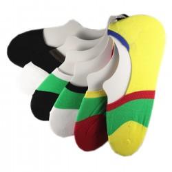 Pack de 6 Paires Socquettes Invisible Assorties Anti-dérapant T.U.