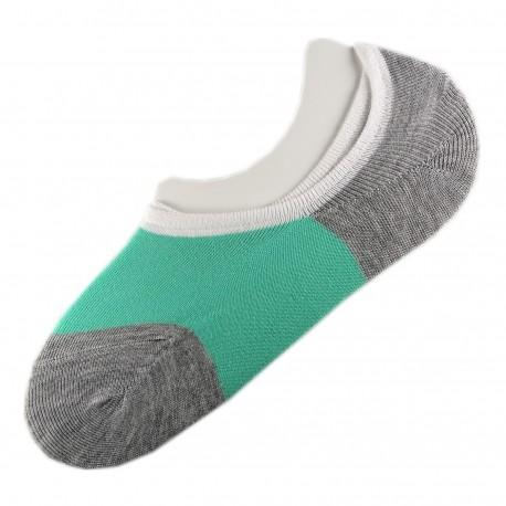 Pack de 2 Paires Socquettes Invisible Anti-dérapant Vert T.U.