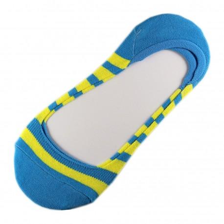 Pack de 2 Paires Socquettes Invisible Rayure Anti-dérapant Bleu T.U.