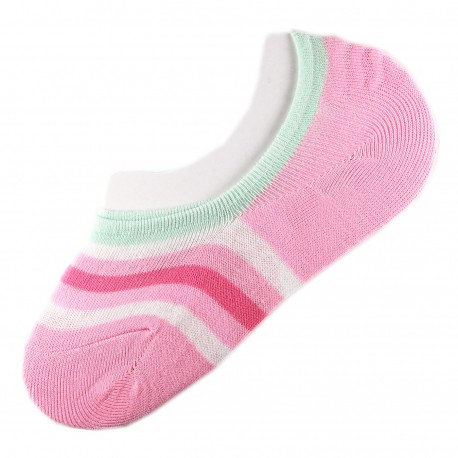 Pack de 2 Paires Socquettes Invisible Rayure Anti-dérapant Rose T.U.