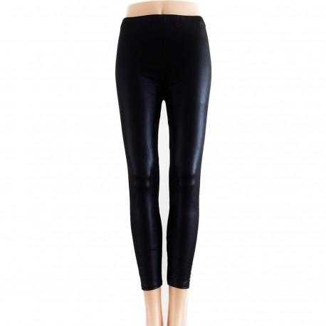 Leggings Style Cuir avec Bouton