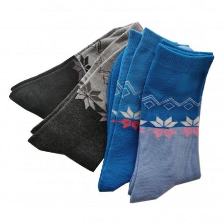 Pack de 4 Paires Chaussettes Femme Assorties Coton Bicolore